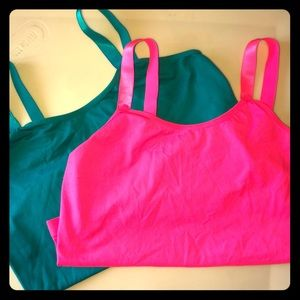 TWO Tease Me maternity tanks Hot Pink/Turquoise